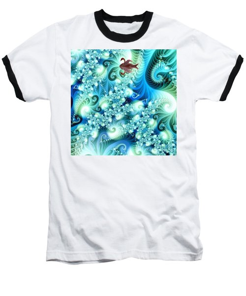Baseball T-Shirt featuring the digital art Fractal And Swan by Odon Czintos