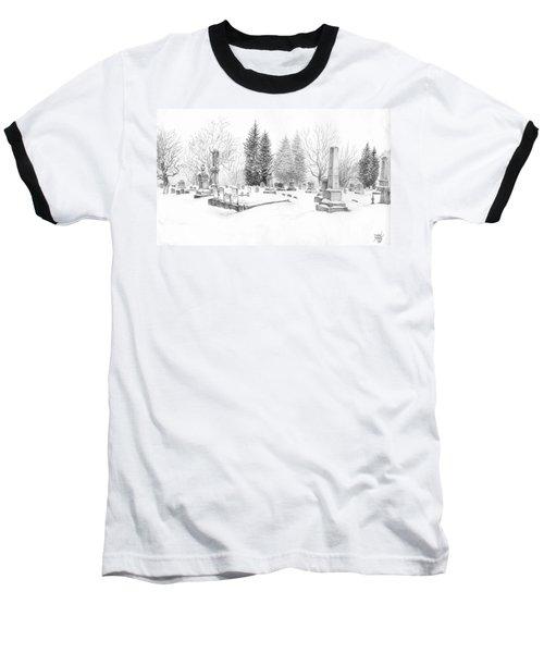 Graveyard In The Snow Baseball T-Shirt