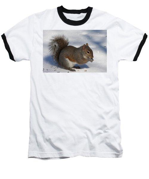 Gray Squirrel On Snow Baseball T-Shirt
