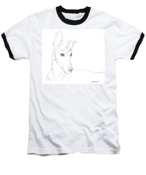 Baseball T-Shirt featuring the drawing Greyhound by George Pedro