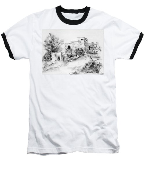 Hirbe Landscape In Afek Black And White Old Building Ruins Trees Bricks And Stairs Baseball T-Shirt