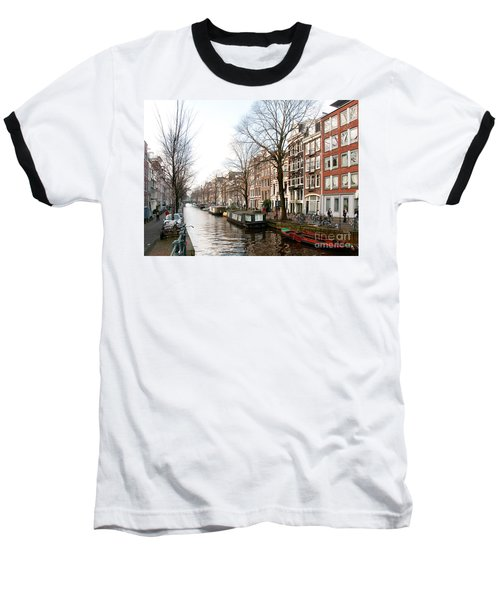 Baseball T-Shirt featuring the digital art Homes Along The Canal In Amsterdam by Carol Ailles