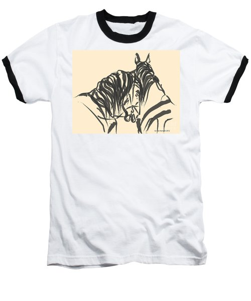 Baseball T-Shirt featuring the painting Horse - Together 9 by Go Van Kampen