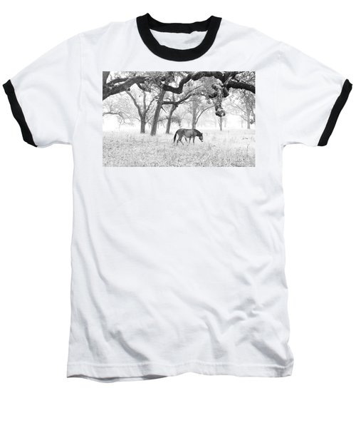 Baseball T-Shirt featuring the photograph Horse In Foggy Field Of Oaks by CML Brown