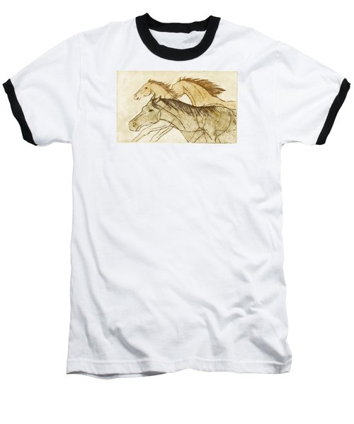 Horse Sketch Baseball T-Shirt by Nareeta Martin