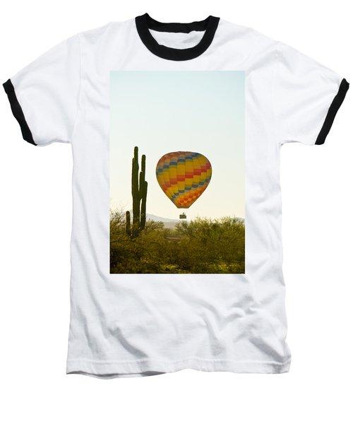 Hot Air Balloon In The Arizona Desert With Giant Saguaro Cactus Baseball T-Shirt