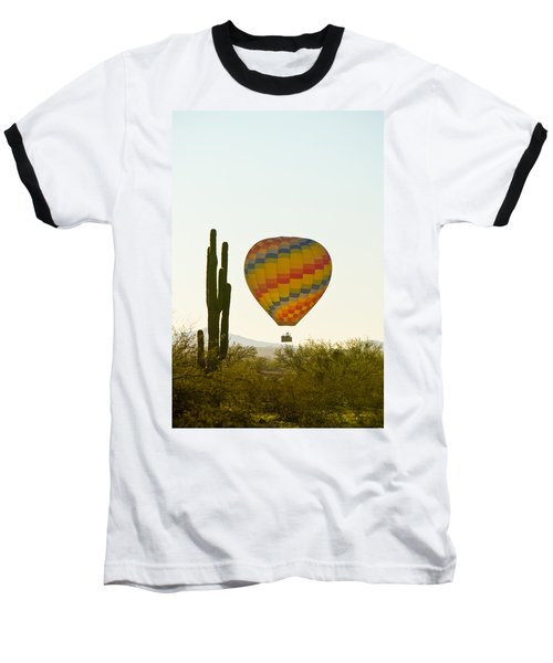 Hot Air Balloon In The Arizona Desert With Giant Saguaro Cactus Baseball T-Shirt