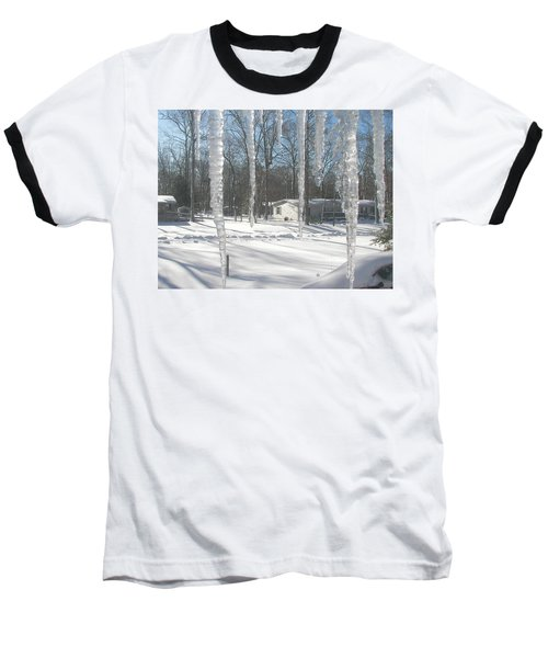 Baseball T-Shirt featuring the photograph Icicles Through The Window Glass by Pamela Hyde Wilson