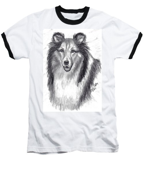 Baseball T-Shirt featuring the drawing Looks Like Lassie by Julie Brugh Riffey