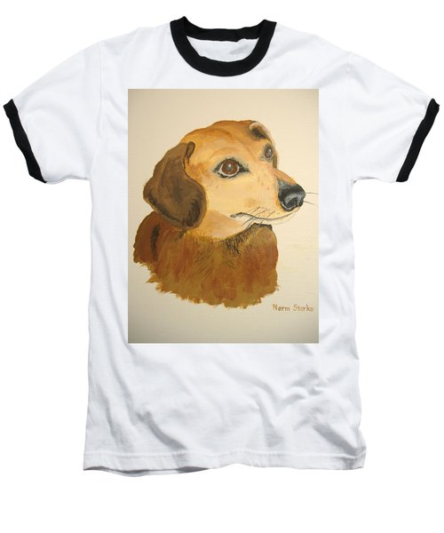 Baseball T-Shirt featuring the painting Lovable Dachshund by Norm Starks