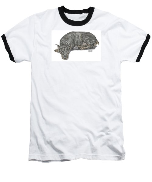 Lying Low - Doberman Pinscher Dog Print Color Tinted Baseball T-Shirt