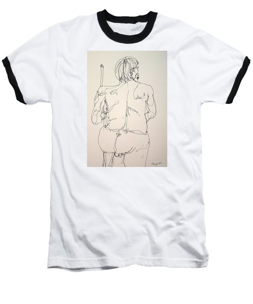 The Naked Man Hiking Baseball T-Shirt by Rand Swift