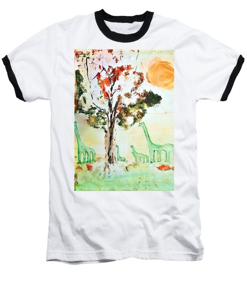 Baseball T-Shirt featuring the painting Matei's Dinosaurs by Evelina Popilian