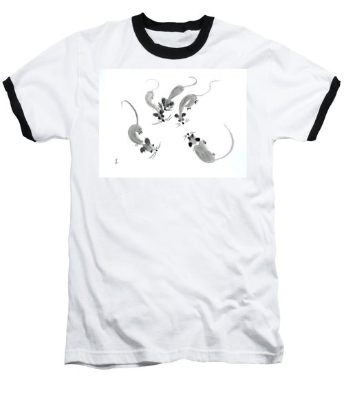 Mice - Sumie Style Baseball T-Shirt by Yoshiko Mishina
