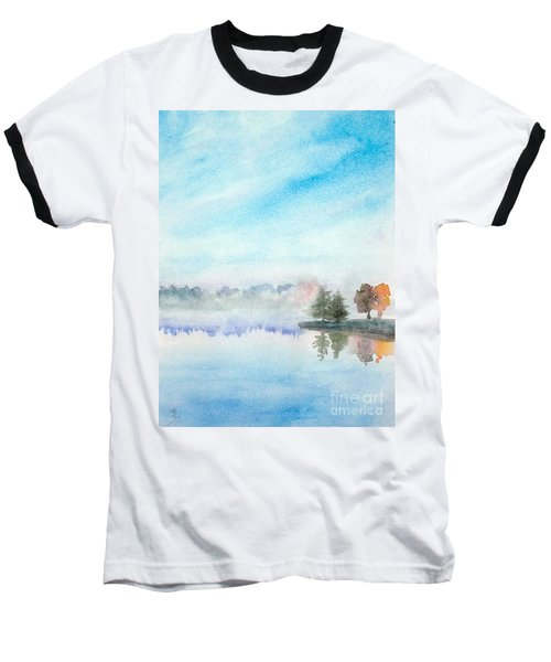Misty Lake Baseball T-Shirt by Yoshiko Mishina