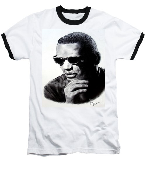 Baseball T-Shirt featuring the painting Music Legend Ray Charles by Jim Fitzpatrick