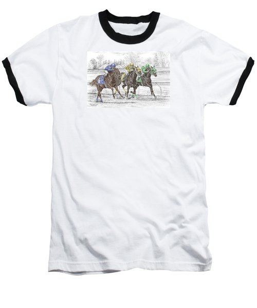 Neck And Neck - Horse Race Print Color Tinted Baseball T-Shirt by Kelli Swan