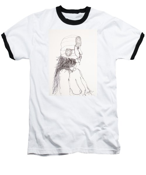 Nude With Hat On Bus Baseball T-Shirt by Rand Swift