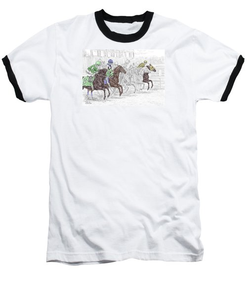 Odds Are - Tb Horse Racing Print Color Tinted Baseball T-Shirt by Kelli Swan