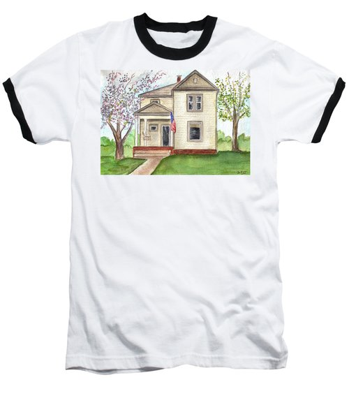 Baseball T-Shirt featuring the painting Ohio Cottage With Flag by Clara Sue Beym