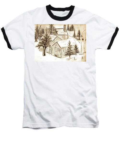 Baseball T-Shirt featuring the drawing Old Colorado by Shannon Harrington