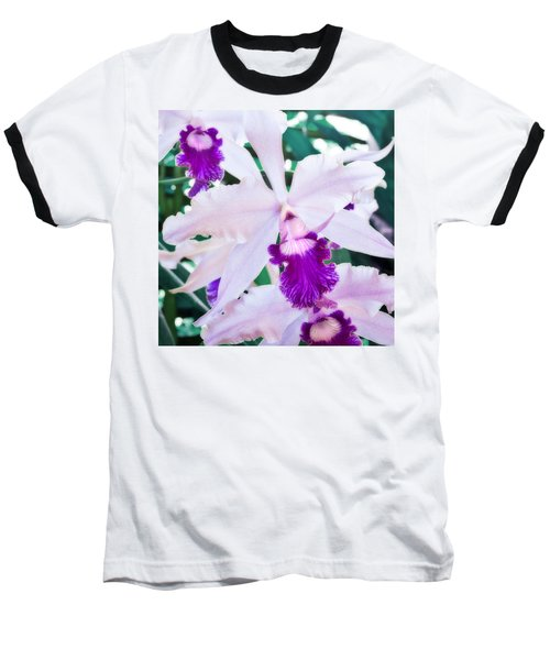 Baseball T-Shirt featuring the photograph Orchids White And Purple by Steven Sparks