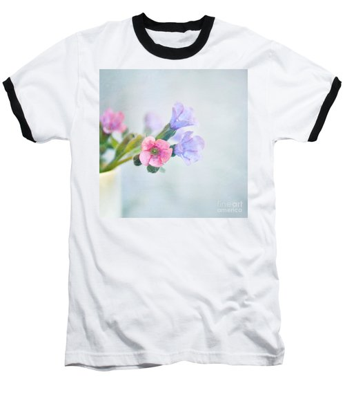Pale Pink And Purple Pulmonaria Flowers Baseball T-Shirt by Lyn Randle