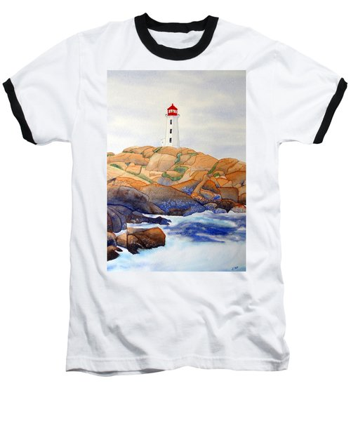 Baseball T-Shirt featuring the painting Peggy's Cove by Laurel Best
