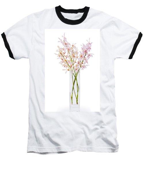Pink Orchid In Vase Baseball T-Shirt by Atiketta Sangasaeng