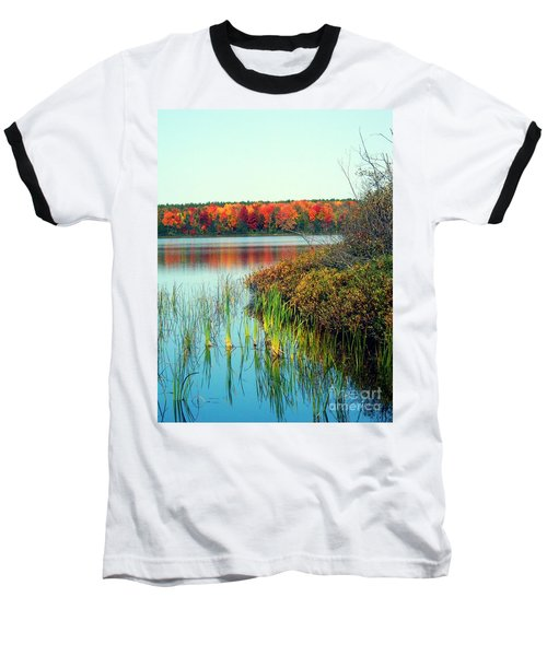 Pond In The Woods In Autumn Baseball T-Shirt
