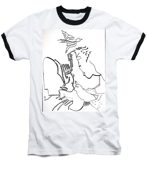Baseball T-Shirt featuring the drawing Presentation Of Jesus In The Temple by Gloria Ssali