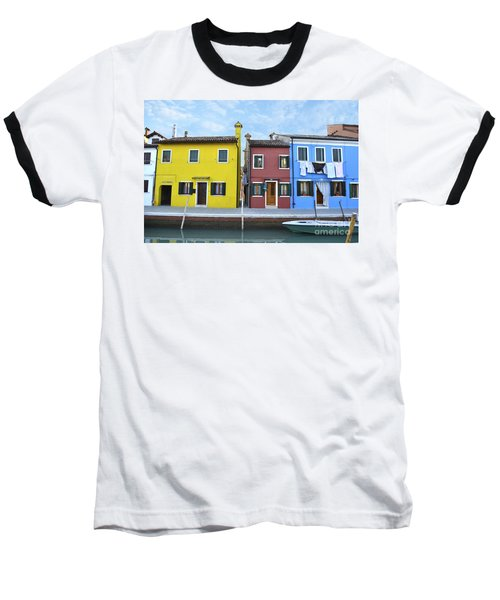 Baseball T-Shirt featuring the photograph Primary Colors In Burano Italy by Rebecca Margraf