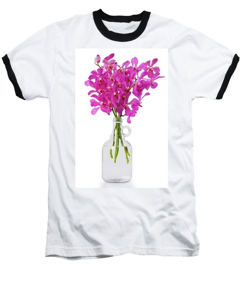 Purple Orchid In Bottle Baseball T-Shirt by Atiketta Sangasaeng