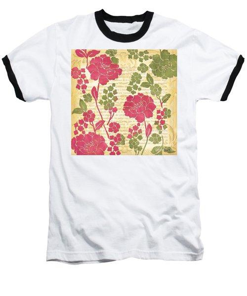 Raspberry Sorbet Floral 1 Baseball T-Shirt by Debbie DeWitt