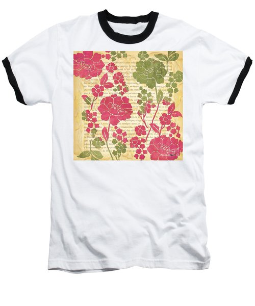 Raspberry Sorbet Floral 2 Baseball T-Shirt by Debbie DeWitt
