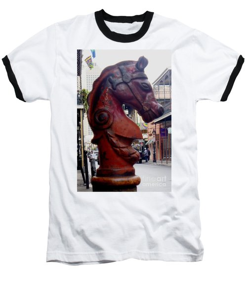 Baseball T-Shirt featuring the photograph Red Horse Head Post by Alys Caviness-Gober