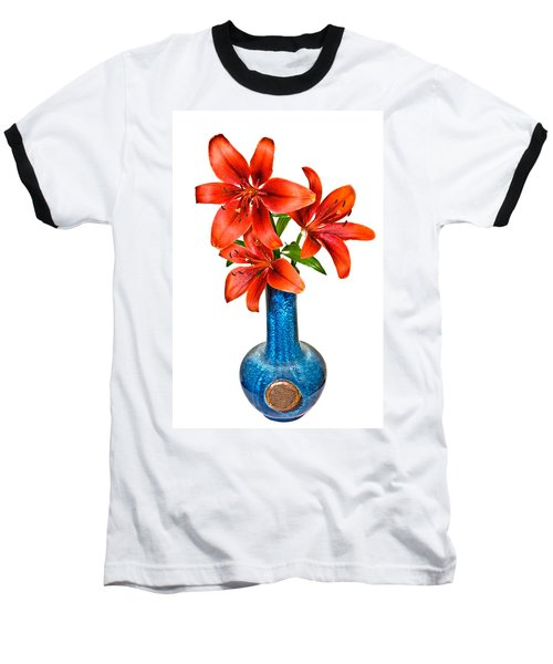 Red Lilies In Blue Vase Baseball T-Shirt