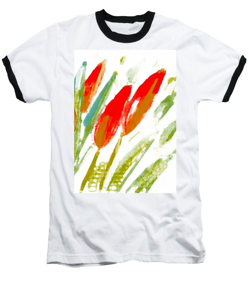 Baseball T-Shirt featuring the digital art Red Tulips by Barbara Moignard
