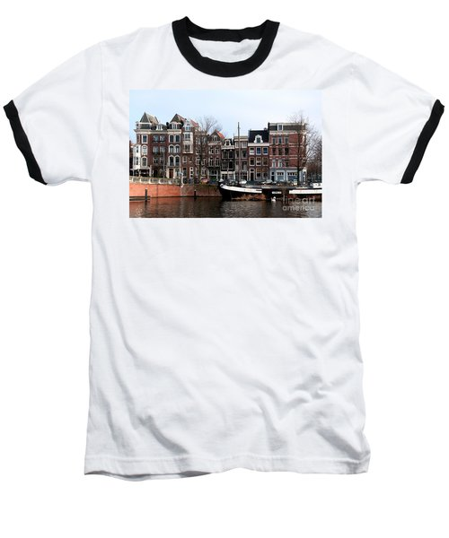 Baseball T-Shirt featuring the digital art River Scenes From Amsterdam by Carol Ailles