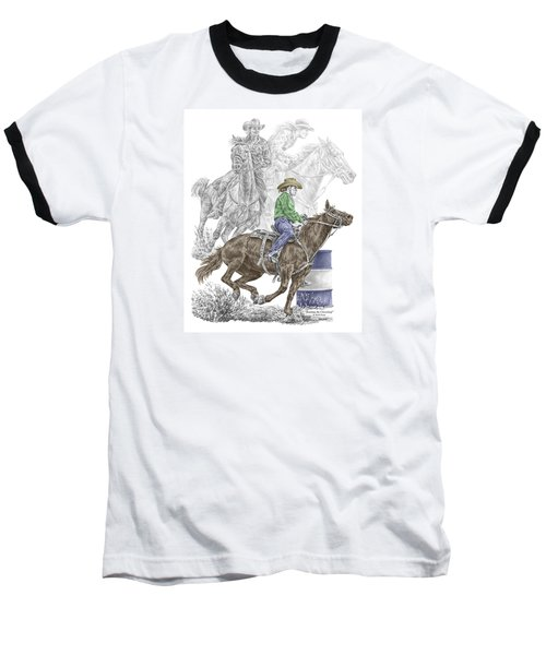 Running The Cloverleaf - Barrel Racing Print Color Tinted Baseball T-Shirt by Kelli Swan
