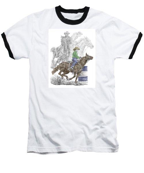 Running The Cloverleaf - Barrel Racing Print Color Tinted Baseball T-Shirt