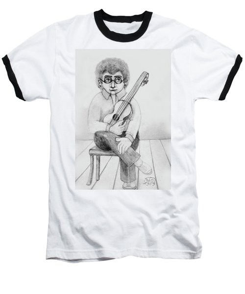 Russian Guitarist Black And White Art Eyeglasses Long Curly Hair Tie Chin Shirt Trousers Shoes Chair Baseball T-Shirt by Rachel Hershkovitz