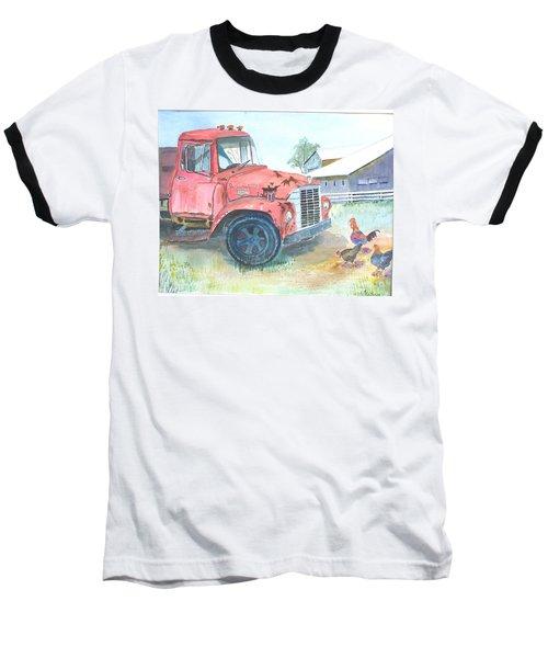 Rusty Truck Baseball T-Shirt by Christine Lathrop