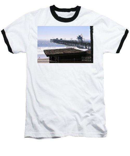 San Clemente Pier California Baseball T-Shirt by Clayton Bruster