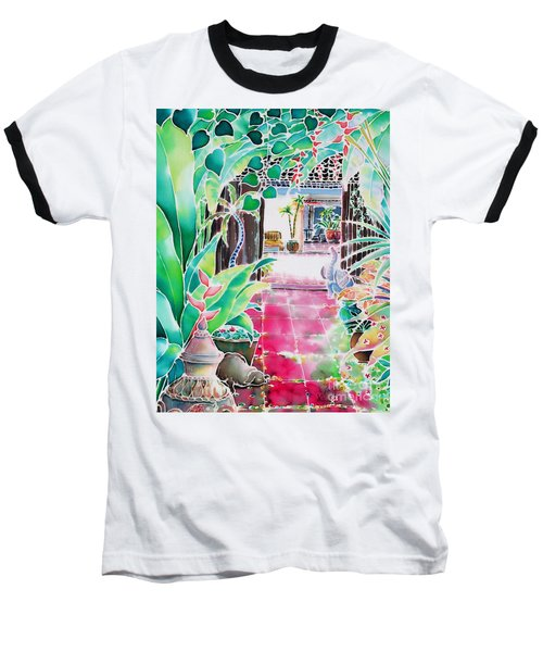 Baseball T-Shirt featuring the painting Shade In The Patio by Hisayo Ohta