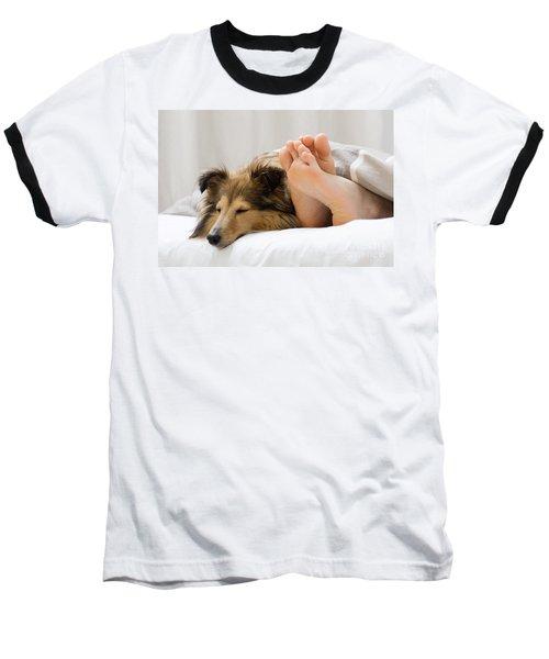 Sheltie Sleeping With Her Owner Baseball T-Shirt