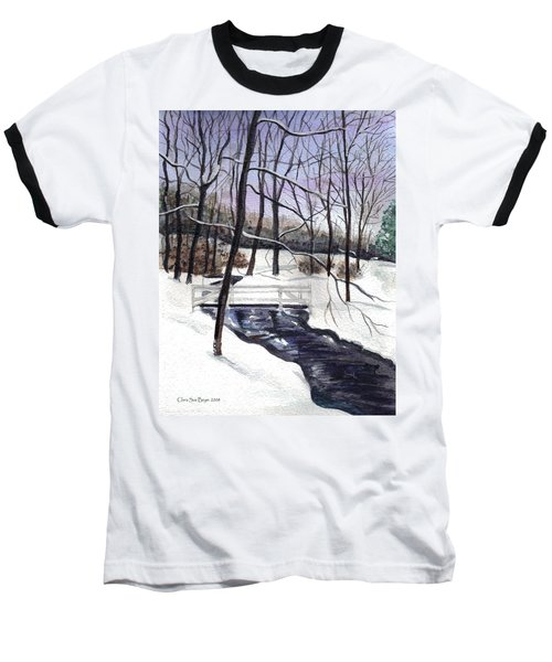 Snowy Shawnee Stream Baseball T-Shirt by Clara Sue Beym