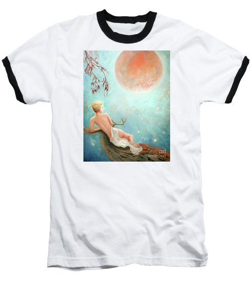 Baseball T-Shirt featuring the painting Strawberry Moon Nymph by Michael Rock