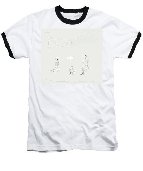 Baseball T-Shirt featuring the drawing Street Apparition by Kevin McLaughlin