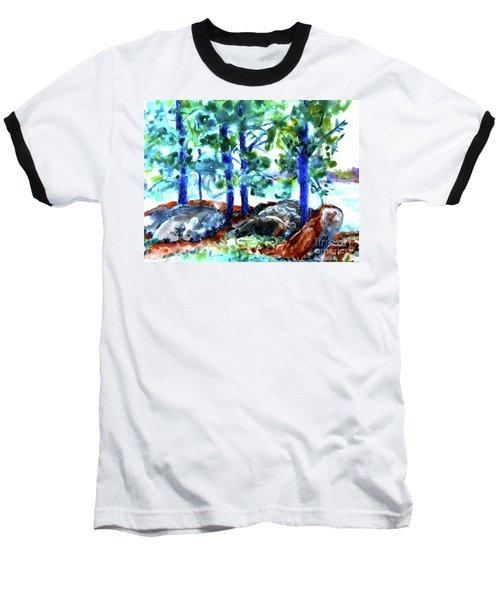 Summer By The Lake Baseball T-Shirt by Jan Bennicoff